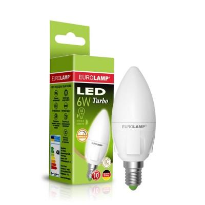 "Светодиодная диммируемая EUROLAMP LED Лампа TURBO NEW ""Свеча"" dimmable 6W E14 3000K"