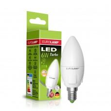 "Светодиодная диммируемая EUROLAMP LED Лампа TURBO NEW ""Свеча"" dimmable 6W E14 4000K"