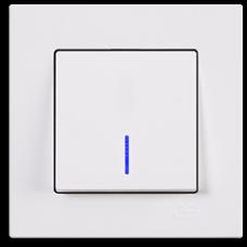 Выключатель одноклавишный с подсветкой Gunsan Eqona белый