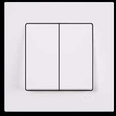 Выключатель двухклавишный Gunsan Eqona белый