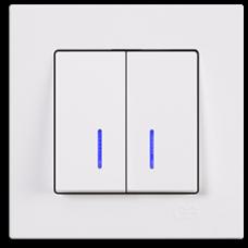 Выключатель двухклавишныйс подсветкой Gunsan Eqona белый