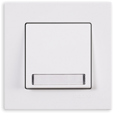 Кнопка звонка с подсветкой с этикеткой Gunsan Eqona белый
