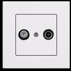 Спутниковая розетка и ТВ розетка Gunsan Eqona белый