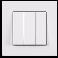 Выключатель трехклавишный Gunsan Eqona белый
