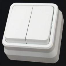 Выключатель двухклавишный наружный Gunsan Misya белый