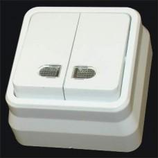Выключатель двухклавишный с подсветкой наружный Gunsan Misya белый