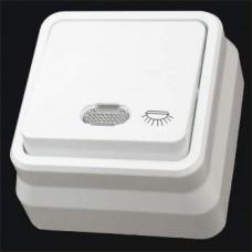 Кнопка контроля освещения одинарная с подсветкой наружная Gunsan Misya белый