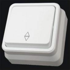 Выключатель проходной одноклавишный наружный Gunsan Misya белый