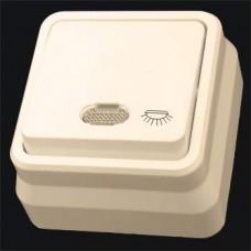Кнопка контроля освещения одинарная с подсветкой наружная Gunsan Misya кремовый
