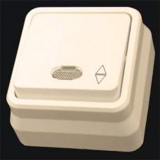 Выключатель проходной одноклавишный с подсветкой наружный Gunsan Misya кремовый