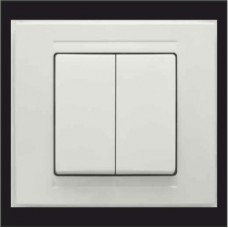 Выключатель двухклавишный Gunsan Moderna белый