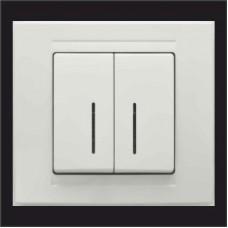 Выключатель двухклавишный с подсветкой Gunsan Moderna белый