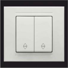 Выключатель проходной двухклавишный Gunsan Moderna белый