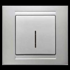 Выключатель одноклавишный с подсветкой Gunsan Moderna серебро