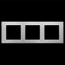 Рамка тройная Gunsan Moderna серебро
