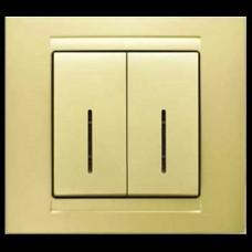 Выключатель двухклавишный с подсветкой Gunsan Moderna золото