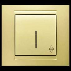 Выключатель проходной одноклавишный с подсветкой Gunsan Moderna золото