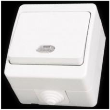 Выключатель одноклавишный с подсветкой влагозащищенный Gunsan Nemliyer белый
