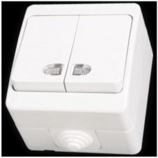Выключатель двухклавишный с подсветкой влагозащищенный Gunsan Nemliyer белый