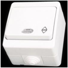 Выключатель проходной одноклавишный с подсветкой влагозащищенный Gunsan Nemliyer белый