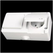 Блок: выключатель одноклавишный и розетка с заземлением влагозащищенная Gunsan Nemliyer белый