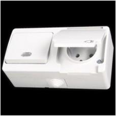 Блок: выключатель одноклавишный с подсветкой и розетка с заземлением влагозащищенная Gunsan Nemliyer белый