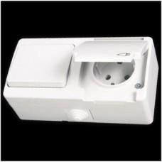 Блок: выключатель двухклавишный и розетка с заземлением влагозащищенная Gunsan Nemliyer белый