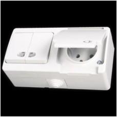 Блок: выключатель двухклавишный с подсветкой и розетка с заземлением влагозащищенная Gunsan Nemliyer белый