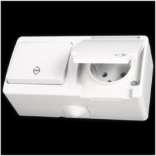 Блок: выключатель проходной одноклавишный и розетка с заземлением влагозащищенная Gunsan Nemliyer белый