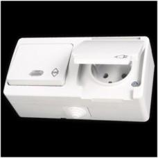 Блок: выключатель проходной одноклавишный с подсветкой и розетка с заземлением влагозащищенная Gunsan Nemliyer белый