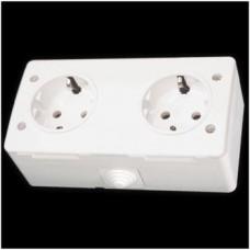 Блок: розетка с заземлением и розетка с заземлением без крышки влагозащищенная Gunsan Nemliyer белый