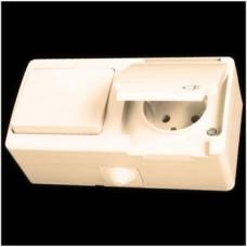 Блок: выключатель одноклавишный и розетка с заземлением влагозащищенная Gunsan Nemliyer кремовый