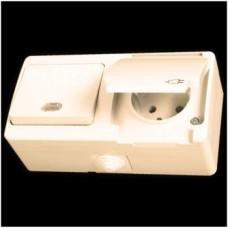 Блок: выключатель одноклавишный с подсветкой и розетка с заземлением влагозащищенная Gunsan Nemliyer кремовый