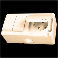 Блок: выключатель двухклавишный и розетка с заземлением влагозащищенная Gunsan Nemliyer кремовый