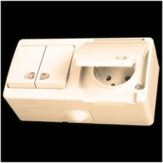 Блок: выключатель двухклавишный с подсветкой и розетка с заземлением влагозащищенная Gunsan Nemliyer кремовый
