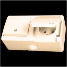 Блок: выключатель проходной одноклавишный и розетка с заземлением влагозащищенная Gunsan Nemliyer кремовый