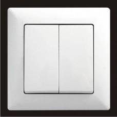 Выключатель двухклавишный Gunsan Visage белый VS 28 11 103