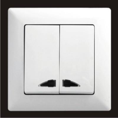 Выключатель двухклавишный с подсветкой Gunsan Visage белый VS 28 11 104