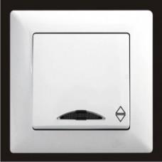 Выключатель проходной одноклавишный с подсветкой  Gunsan Visage белый VS 28 11 108