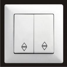 Выключатель проходной двухклавишный Gunsan Visage белый VS 28 11 109