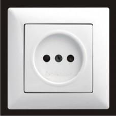 Розетка одинарная с защитными шторками Gunsan Visage белый VS 28 11 114