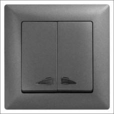 Выключатель двухклавишный с подсветкой Gunsan Visage черный