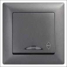 Выключатель проходной одноклавишный с подсветкой Gunsan Visage черный