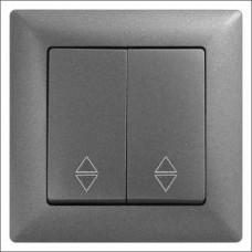 Выключатель проходной двухклавишный Gunsan Visage черный