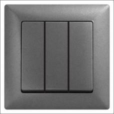 Выключатель тройной Gunsan Visage черный