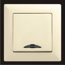 Выключатель одноклавишный с подсветкой Gunsan Visage кремовый VS 28 12 102
