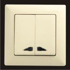 Выключатель двухклавишный с подсветкой Gunsan Visage кремовый VS 28 12 104