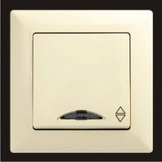 Выключатель проходной одноклавишный с подсветкой Gunsan Visage кремовый VS 28 12 108