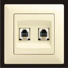 Розетка телефонная двойная Gunsan Visage кремовый VS 28 12 121