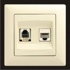 Розетка телефонная и компьютерная cat.5E Gunsan Visage кремовый VS 28 12 132